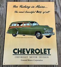Chevrolet Styleline DeLuxe Station Wagon Vintage Tin Metal Sign, AAA Sign Co.