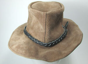 Western Outback Rugged Leather Brown Cowboy Hat Size Small