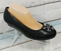 Catherines Wedge Comfort Black Stones Women's Shoes Size 8.5 W