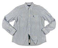 Polo Ralph Lauren Men's Shirt Size L Yale Blue White Striped Button Up Top New