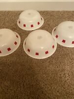 """Rare Corelle Vitrelle Set Of 4 Cereal Bowls White With Red Squares VGC (6.5"""")"""