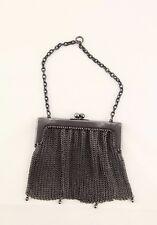 Vintage Art Deco real gun metal fringe balls mesh coin purse bag
