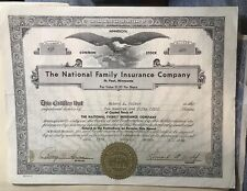 Original Stock Certificate The National Family Insurance Company 1960 St. Paul