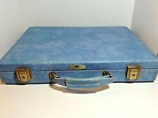 Vintage Light Blue Carson Briefcase Suitcase 18 x 13 x 3 Inches