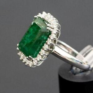 4Ct Emerald Cut Green Emerald Diamond Halo Engagement Ring 18K White Gold Finish