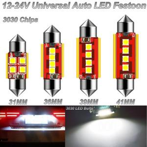2PCS 4LEDs 3030 12-24V CANBUS LED FESTOON C5W MAP DOME LIGHT LICENSE PLATE LAMP