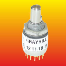2 POLE 6 POSITION MINI ROTARY SWITCH GRAYHILL 51KSP30-01-2-06N T102 0810 V15 NEW