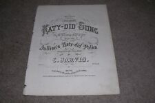 c.1854 Katy-Did Sons Polka by Jarvis, Antique Sheet Music