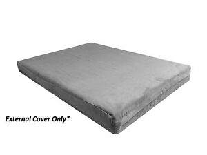 """Gray Durable Luxury Soft Suede Gusset Dog Bed Duvet Zipper Cover Case 40""""x35""""x4"""""""