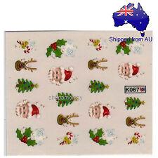 Christmas Santa Claus Candy Cane Rudolph Mistletoe Nail Art Water Transfer Decal