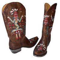 "Old Gringo Sapache 13"" Tall Women's Cowboy Boots Indian - Size 8 Kachina Design!"