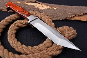Custom HANDMADE D2 TOOL1 STEEL Piece Full Tang HUNTING Tanto KNIFE /Wood HANDLE