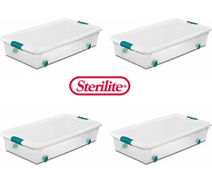 White Sterilite 56 Qt. 53 L Wheeled Latching Box Clears