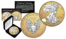 2016 American 1oz Silver Eagle MIXED-METALS SILVER with 24K GOLD MATTE Backdrop