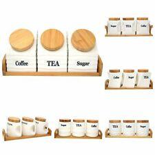 Té Café Azúcar Cerámica Botes Tarro De Basura Set con tapa de madera de almacenamiento de cocina