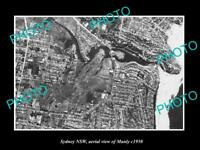 OLD LARGE HISTORIC PHOTO SYDNEY NEW SOUTH WALES AERIAL VIEW OF MANLY c1950