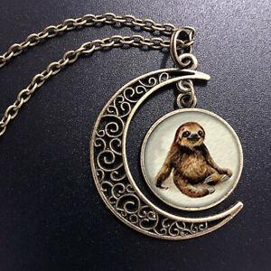 Sloth Charm Art Pendant Choker Jewelry Bronze Moon Necklace For Women Dres