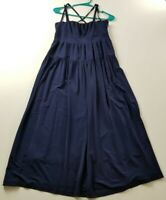Karen Millen Womens Midi Dress Sz 6 Blue Spaghetti Criss Cross Straps Sleeveless