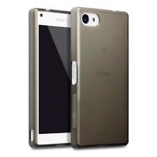 SLIM in Gomma Gel Custodia Cover per Sony Xperia Z5 Compact-Nero fumo