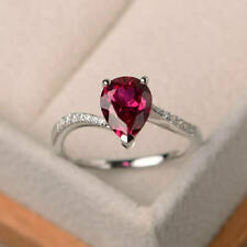 1.70 Ct Pear Cut Ruby Diamond Engagement Wedding Ring 925 Sterling Silver Size P