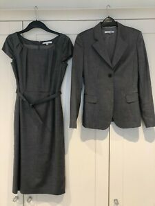 LK Bennett grey suit 2 piece dress and jacket size 10