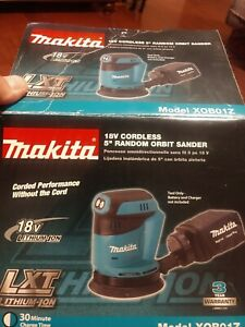 Makita 18V LXT Lithium‑Ion Cordless Orbit Sander, 4.0 ah battery, and charger