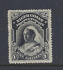 NIGER COAST 1894 QV (SG 56 perf 14.5X15 one shilling unwatermarked) F/VF MH
