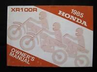 Honda 1985 XR100 XR 100 New Old Stock Original Owners Manual