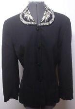 Ann Taylor Dressy Black Wool Blazer w Bamboo Design Embroidered Collar 8 Bust 36