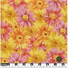 Quilting fabric grande Rosa Y Amarillo Margaritas Fat Quarters 100% algodón | YF9