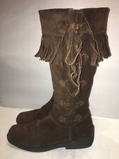 Lovely Principles Chocolate Brown Suede Tassel Boots, Size 4