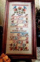 Cross Stitch Pattern Vintage SAMPLER Be Ye Kind and True Alphabet Numbers Fruit