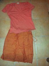 jupe portefeuille PROMOD et top CAMAIEU, taille 2 ou 38, orange