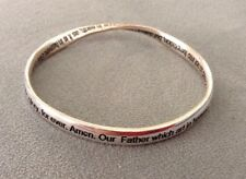 Burnished Silver Twisted Christian Sentiment Bangle Bracelet Courage Wisdom