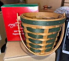 Longaber 2007 Tree Trimming Green Peppermint Stripe Basket + Tie On - New