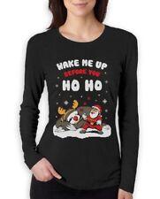 Wake Me Up Before You HO HO Santa Sloth Ugly Xmas Women Long Sleeve T-Shirt