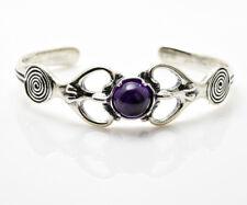 Goddess Earth Dreamer Torc Bracelet .925 Sterling Silver w/ Genuine Amethyst gem