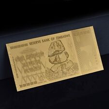 Zimbabwe 100 Trillion Gold Banknote Plated Pure 24K Gold  (ZM1NG)