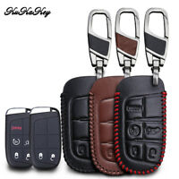 Black Leather Key Case Cover Jacket Fob Keyless Remote Holder Skin fit for JEEP FIAT DODGE Smart Remote Key Case