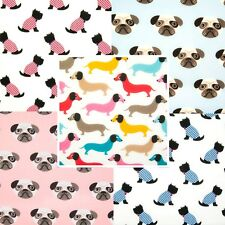 Polycotton Fabric DOG PUG DACHSHUND SCOTTIE CHRISTMAS ANIMALS Craft Material