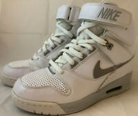 WMNS Nike Air Revolution Sky Hi Wedge Sz 6.5 White Gray Sneakers Rare 599410-102
