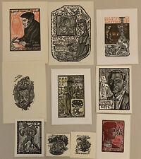 Julio Fernadez SAEZ Spain Lot 10 Mid Century Exlibris Wood Engraving X2 1970 #1