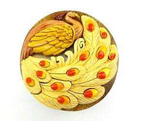 Peacock Wood Puzzle Box Handmade Keepsake Jewelry Trinket Decorative Box
