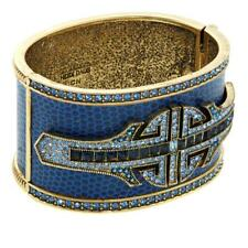 "Bangle Bracelet 6-3/4"" Blue Hsn $160 Heidi Daus ""Denim And Deco"" Crystal Hinged"