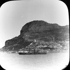 Antique Magic Lantern Glass Slide Photo Rock Of Gibraltar Spain The Bay Ship