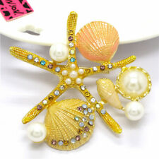 Betsey Johnson Yellow Enamel Starfish Shell Pearl Crystal Charm Brooch Pin Gift