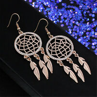 2019 Women Dream Catcher Hollow out Vintage Leaf Feather Dangle Earrings Jewelry