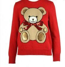 VICOLO maglia donna rossa girocollo mmista lana con ricamo orso, fiocco paiettes