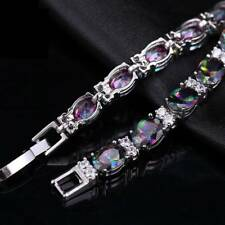 Women's Bracelets Bangles Cuff Chains Rainbow Zircon Silver Plated Jewelry Gifts