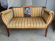 More details for antique,edwardian,2 seat,inlaid,wood frame,mahogany,scrolled arms,parlour,sofa
